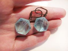 Aqua earrings. Faceted aqua glass with staar by MADAMBLUEONE, $15.00