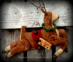 Primitive Folk Art Handcrafted Santa's Reindeer-Dancer-Winter, Christmas, Hafair team, DTHFAAP by MeadowForkPrims on Etsy
