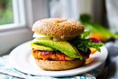 Sweet potato veggie burger with avocado.