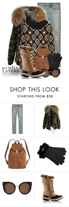 """""""Winter Warmth 2789"""" by boxthoughts ❤ liked on Polyvore featuring Yves Saint Laurent, BAGGU, UGG, STELLA McCARTNEY and SOREL"""