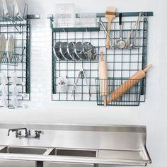Kitchen Wall Storage, Kitchen Organization Pantry, Diy Kitchen, Kitchen And Bath, Home Organization, Kitchen Decor, Metal Kitchen Shelves, Kitchen Pegboard, Organizing