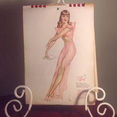 Vintage 1946 Pinup Girl April - Original 9x12 Lithograph, Ephemera, Mature, Burlesque, Brunette by fahnaobscura on Etsy https://www.etsy.com/listing/256240065/vintage-1946-pinup-girl-april-original