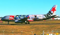 Jetstar in the 'Quiksilver' livery at Sydney Kingsford Smith Airport.