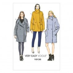 Vogue Very Easy Women's Cocoon Coat Sewing Pattern, 8930 Vogue Patterns, Kwik Sew Patterns, Coat Pattern Sewing, Easy Sewing Patterns, Coat Patterns, Clothing Patterns, Fabric Patterns, Vogue Fashion, Sewing Clothes
