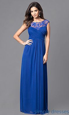 Long Formal Ruched Surplice Bodice with Lace Neckline