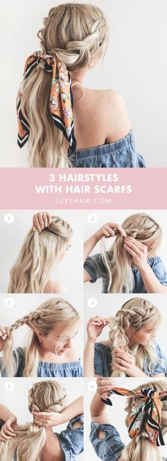 Summer hairstyles with headscarves, Summer season Hairstyles With Headscarves HOW TO . - pferdeschwanz, Summer hairstyles with headscarves, Summer season Hairstyles With Headscarves HOW TO … Braided Ponytail Hairstyles, Trendy Hairstyles, Ponytail Ideas, Ponytail Tutorial, Hair Scarf Tutorial, Braids Ideas, Long Hair Easy Hairstyles, How To Do Hairstyles, Bandana Hair Tutorials