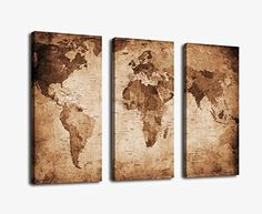 Vintage Map Art Canvas Prints Wall Art Decor Framed 30x42 Inch - 3 Panels Large Retro World Map Antiquated Map of World Abstract Painting Pictures Giclee Art Reproductions for Home Office Decoration, http://www.amazon.com/dp/B00RK4D6O6/ref=cm_sw_r_pi_s_awdm_e-rFxbQ950ZBE