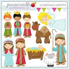 Christmas Nativity Cute Christmas Digital Clipart for Commercial or Personal…