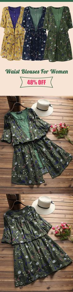 06b8696a056a Vintage Floral Fake Two Pieces Tie Waist Blouses For Women.