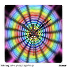 Radiating Flower Square Wallclock