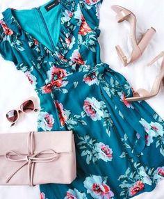 Blue Floral Print Wrap Dress - Wrap Dress