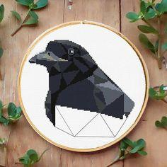 Crow Raven xstitch pattern Geometric bird embroidery Animals cross stitch Needlecraft project