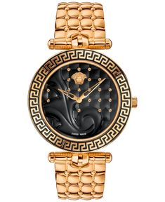Versace Men's Swiss Rose Gold-Tone Ion-Plated Stainless Steel Bracelet Watch 40mm VK723 0015 - Luxury Brands - Jewelry & Watches - Macy's