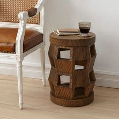 Bungalow Zanzibar side table and stool lends functional, contemporary style. This versatile, lacquered mahogany accent's textural surface enhances an architectural design in a Driftwood beige W x D x HWipe Modern Decor, Modern Furniture, Black Side Table, Bungalow 5, Dynamic Design, Modern Loft, Round Design, Beach House Decor, Home Decor