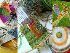 Craftophilia- Circular weaving using yarn scraps and embroidery hoops.