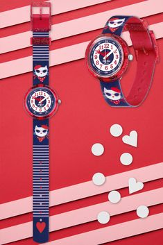 Who needs attitude when you can have CATITUDE (ZFPNP065)? Featuring the iconic combo of red, white and blue, this Swiss watch for kids is BPA free and undoubtedly a cool gift. Touches of glitter on the transparent red plastic case makes it awesome to learn to read the time, while the funky strap is machine washable at 40°C. Swiss Watch, Learn To Read, Plastic Case, Cool Gifts, Rolex Watches, Swatch, Attitude, Glitter, Cool Stuff