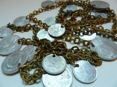 Vintage Brass Chain with 20 Silver Coins - Belly Dance Supplies - Boho Costume…