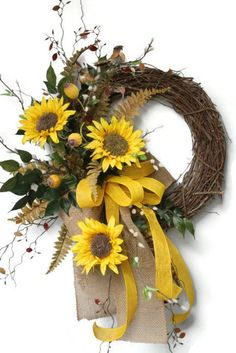 Items similar to Sunflower Front Door Wreath, Country Wreath, Fall Wreath, Yellow Sunflower Wreath, Double Natural Burlap Bow, Wreath for Door, Free Shipping on Etsy