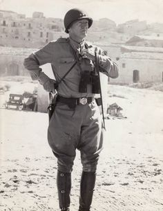 General Patton on the beach at Gela, an area in the province of Caltanissetta in the south of Sicily, Italy...