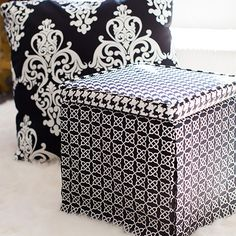 Square Ottoman from Vicki Payne Ottoman Furniture, Furniture Slipcovers, Diy Craft Projects, Crafts, Craft Ideas, Square Ottoman, Asian Home Decor, Black Bedding, Pattern Making