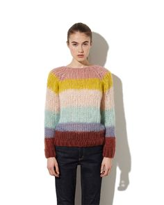Striped Sweater Three_Look Knitting Designs, Knitting Patterns Free, Free Knitting, Mohair Sweater, Cable Knit Sweaters, Big Knits, Knitwear Fashion, Fall Shirts, Sweater Design
