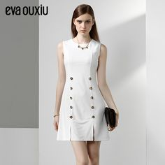 Evaouxiu Vintage Autumn Spring OL Formal  new best price white Work Office Dress Sleeveless Bright Colourful Haute Couture Women Fashion Rare Nice Beautiful Pretty Classy Vintage Style Girl Chic Stylish Inspiration Idea European Wear Clothing Outfit Look Sexy Street