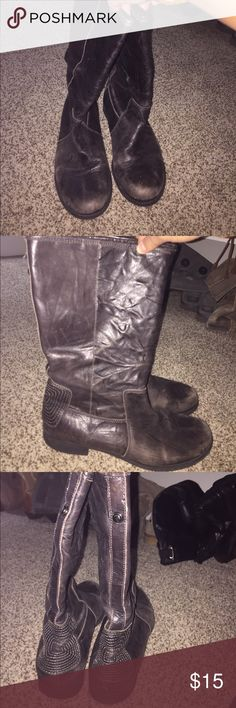 Gianni Bini boots! Distressed, Brownish black boots. Good contrition Gianni Bini Shoes Combat & Moto Boots