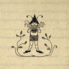 Digital Printable Little Elf Download Image Graphic Illustration Vintage Clip Art. High quality, high resolution digital graphic. This printable digital image download is excellent for printing, iron on transfers, and other great uses. For personal or commercial use. This image is high quality and high resolution at size 8½ x 11 inches. Transparent background version included with every digital image.