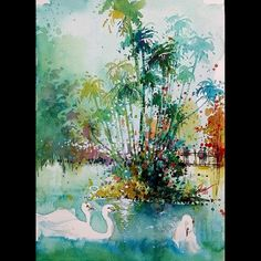 """Three Swans at Botanic Garden Singapore"" Mixed media 08Aug2015 21x29.7cm  #tilenti #tilen #theartcommunity #watercolor #watercolour  #watercolours #watercolors #painting #paintings #splattered #drip #dripped  #artfido #art #_tebo_ #artists_magazine #spotlightonartists #arts_help  #worldoftalents  #art_spy #art4youu #shaded_canvas #art_spotlight #aartistic_dreamers #art_worldly #worldoftartists #singapore"