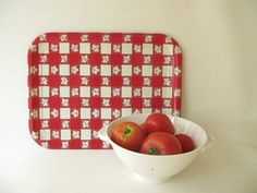 Vintage Red Check Tray Metal Tray Gingham Tray by PassedBy on Etsy, $9.00