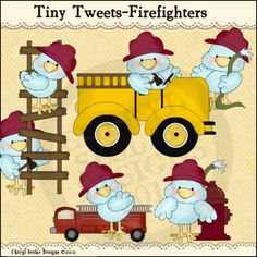 Tiny Tweets Firefighters 1 - Clip Art by Cheryl Seslar