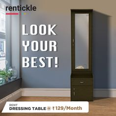 Take a good look and admire yourself in our beautifully crafted Vanitio dressing table! Keep it simple with Rentickle! Dressing Table, Dressing Room, Vanity Room, Mirror Pic, Keep It Simple, House Tours, Tall Cabinet Storage, Entryway, Dress Up