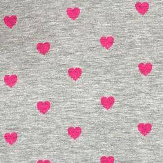 """Pink Stamped Hearts on Heather Gray Cotton Jersey Blend Knit Fabric - Pink stamped heart design on heather gray cotton jersey rayon blend knit.  Fabric is soft with a good stretch, nice drape, and is light to mid weight.  Hearts measures 1/2"""" (see image for scale).  ::  $6.00"""