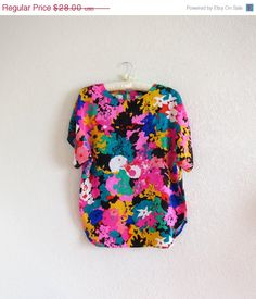 80's abstract floral print silk blouse / silk by ResaleReligion, $18.20