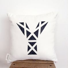 Black Triangle cushion, Personalized Decorative Pillow, Geometric Initial Pillow Cover , Modern Design, Scandinavian Decor
