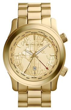 love this Michael Kors globe face gold watch and it's 40% off! #BlackFriday http://rstyle.me/n/t4af5r9te