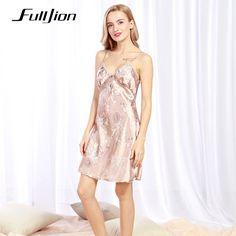 ff89d9dff9d New Brand Women Silk Satin Nightgown Sleepwear Lace Sexy Robes Bathrobe  Longue Femme V-neck Nightdress Night Gown