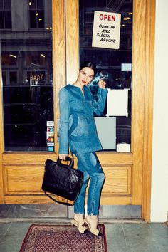 How Actress Julia Goldani Telles Thinks Coco Chanel Would Live Today: We quizzed her on how *she* thinks Gabrielle (AKA Coco) Chanel would live today, and how we can all steal a bit of that glamour. -- Chanel denim matching suit. | Coveteur.com