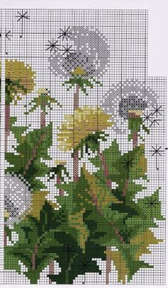 Dandelion cross stitch pattern free (3)
