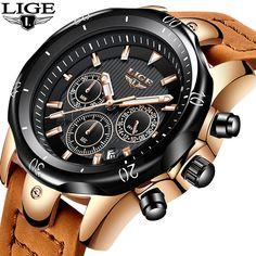 e6c47a617ee ITA Comfort. Relojes Hombre LIGE Moda Mens Relógios De Marca De Luxo 24  Horas Grande Mostrador do Relógio de Quartzo Homens Militar de Couro Relógio  À Prova ...