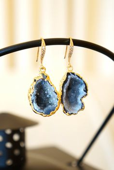 Divinely Starry Night Geode Druzy Earring  Agate by VintagePinch #etsy #anthropologie #gifts #instyle #style #style blog #styleblogger #blogger #blogpost #beidal #weddingblogger #musthave #myatyle #trendy #fashion #fashionista #fashionblog #fblogger #bostonblogger #lablogger #chicagoblogger #vogue #latina #momblogger #momfashion #teacherstyle