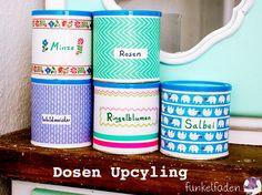 Upcycling - Dosen mit Masking Tape belkleben