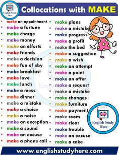 English Collocations – MAKE – Learn english English Learning Spoken, Teaching English Grammar, English Writing Skills, Grammar And Vocabulary, English Vocabulary Words, English Language Learning, English Idioms, English Phrases, Learn English Words
