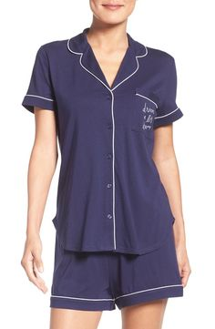 80593593c39 Classic jersey pajamas with a cheeky embroidered update Summer Wardrobe