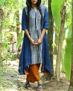 Indigo striped chanderi kurta with ankle length pants