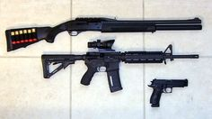 Benelli M2, Knights Armament SR-15 and Sig 229