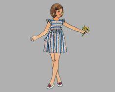 1970s Girls dress sewing pattern Butterick 3741 Breast 27 Sleeveless dress Short girls dress Long girls dress Girls high yoke dress Complete by knightcloth on Etsy