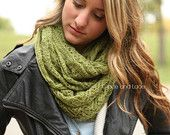 Lace Knit Scarf - OLIVE green lace scarf - infnity scarf - mohair scarf - Grace and Lace - knitted scarf - lacey scarf - pointelle scarf
