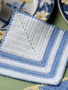 """Blue and White Pot Holder - Blue & White heirloom design pot holder is stitched in size 10 crochet cotton using size 5 steel crochet hook. Finished size is 6 1/2"""" square.  Designed by Elizabeth Ann White  free pdf from FreePatterns.com"""