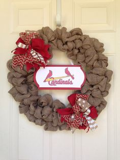 St. Louis Cardinals Burlap Wreath by Toobes on Etsy https://www.etsy.com/listing/230317730/st-louis-cardinals-burlap-wreath